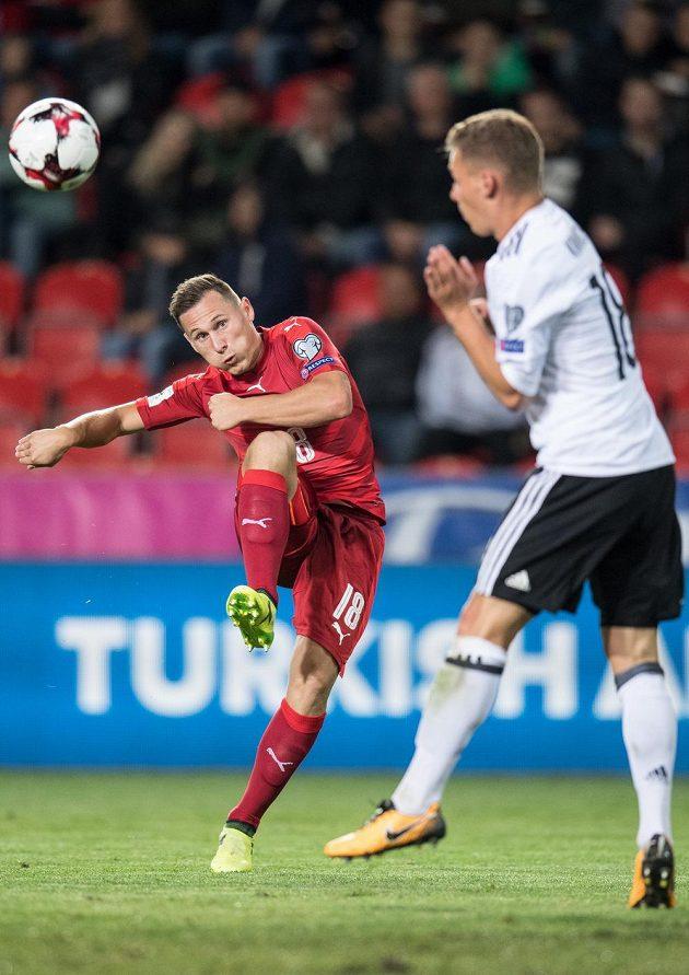 Český obránce Jan Bořil během utkání s Německem.