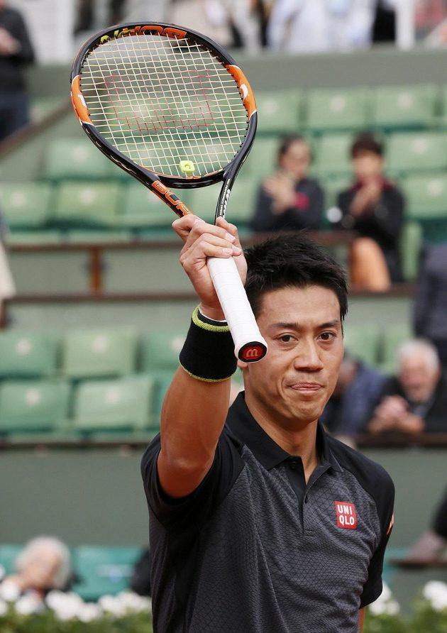 Japonec Kei Nišikori po vítězství v úvodním kole French Open.