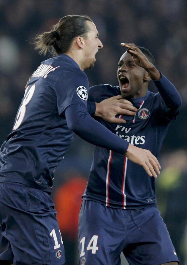 Zlatan Ibrahimovic (vlevo) a Blaise Matuidi z PSG svými trefami připravili favorizovanou Barcelonu o výhru.