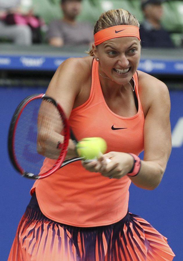 Česká tenistka Petra Kvitová v zápase s Mónicou Puigovou z Portorika.