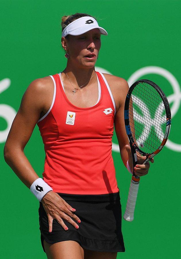 Belgičanka Yanina Wickmayerová během zápasu s Barborou Strýcovou.
