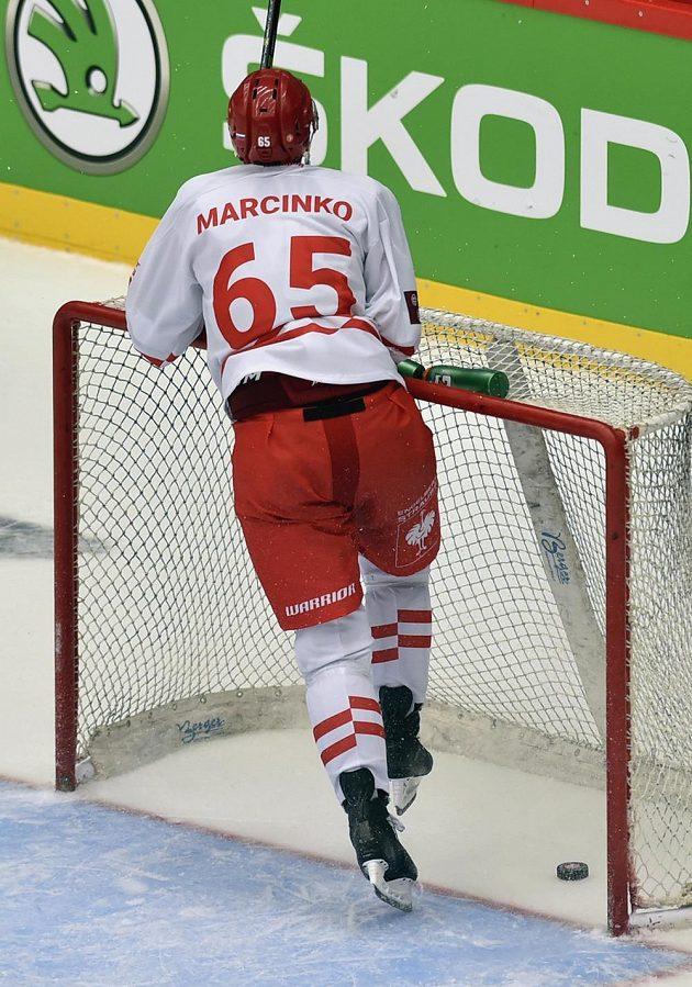 Tomáš Marcinko z Třince vstřelil v závěrečných vteřinách zápasu pátý gól do prázdné branky Lahti.