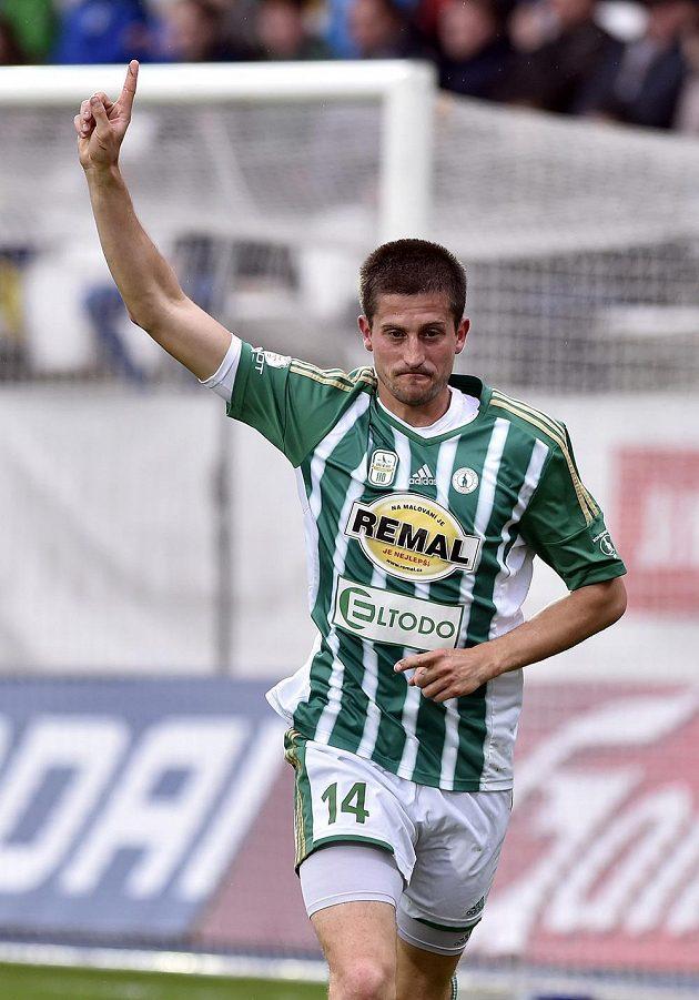 Michal Šmíd z Bohemians se raduje z gólu proti Jihlavě.