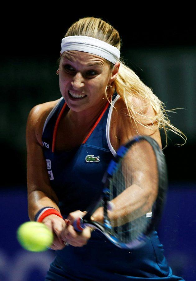 Slovenská tenistka Dominika Cibulková během semifinálového duelu na Turnaji mistryň.