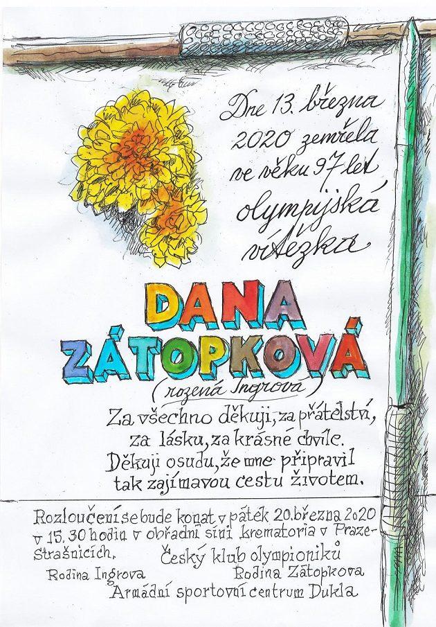 Parte Dany Zátopkové, které nakreslil a dle jejího textu napsal se ctí a úctou Jan Saudek.