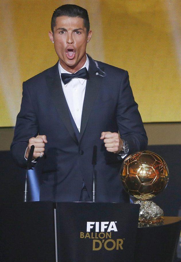 Cristiano Ronaldo při děkovné řeči po zisku Zlatého míče FIFA 2014.