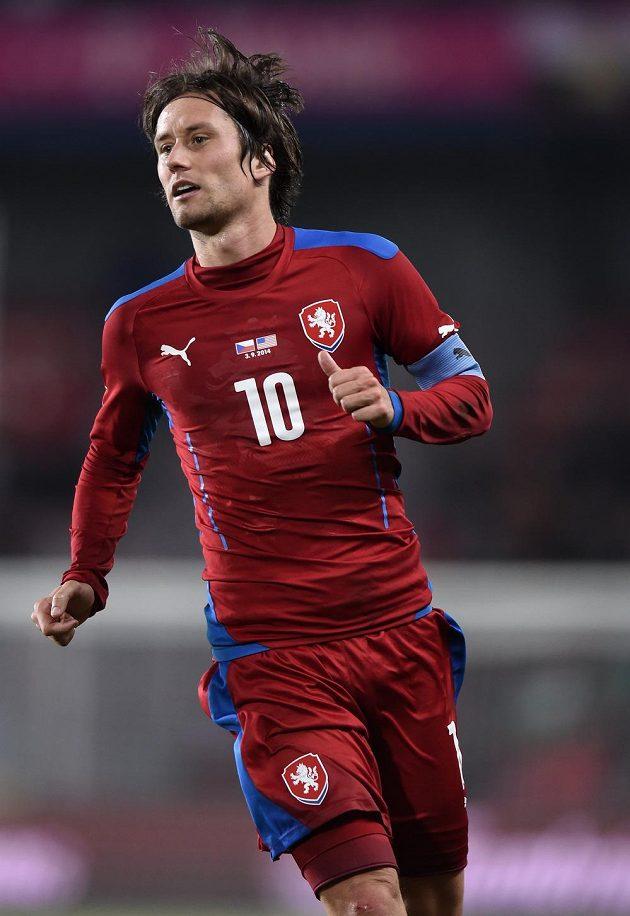 Kapitán české fotbalové reprezentace Tomáš Rosický během utkání s USA.