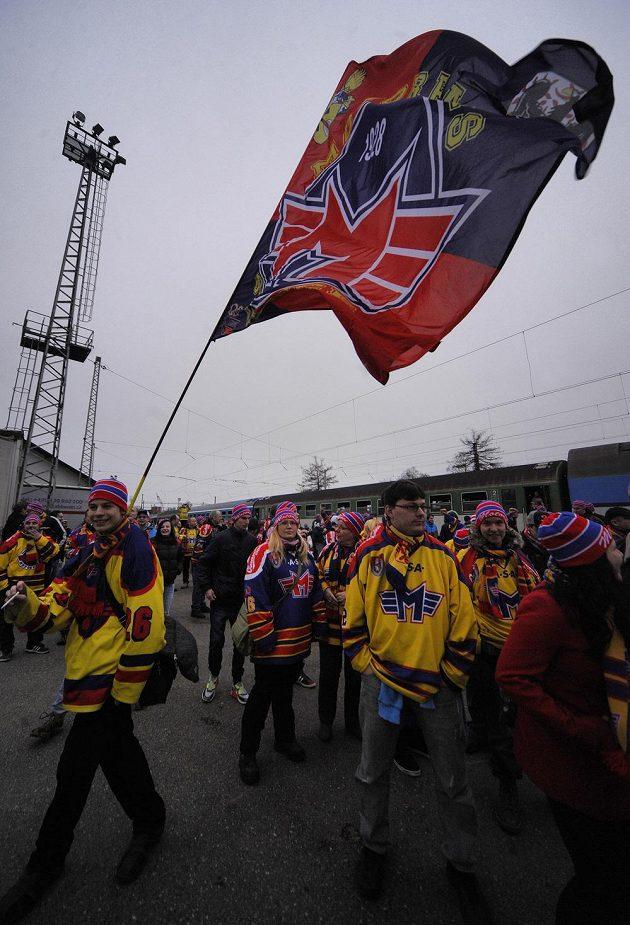 Fanoušci Motoru v Jihlavě před zápasem první hokejové ligy