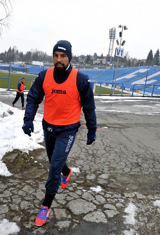 Útočník Baníku Ostrava Milan Baroš přichází na trénink