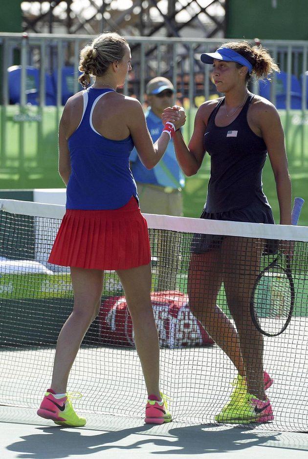 Petra Kvitová a Madison Keysová krátce po zápase o bronzové medaile.
