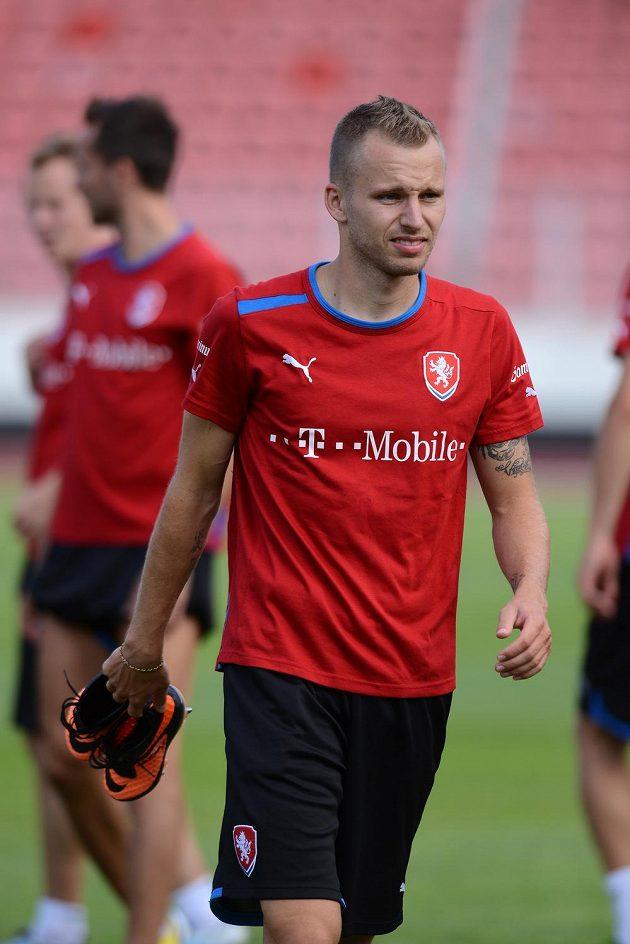 Obránce Michal Kadlec během tréninku národního týmu.