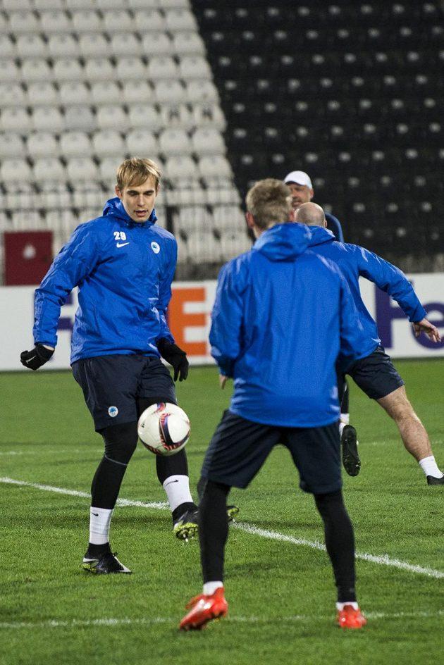 Kapitán fotbalového Liberce Lukáš Pokorný na tréninku v Soluni.