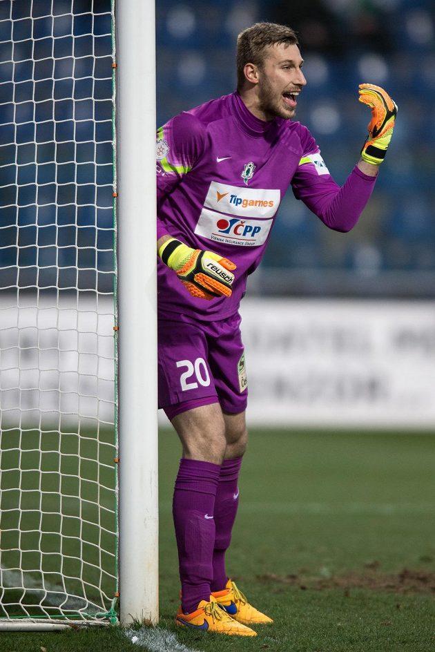 Jablonecký brankář Michal Bárta při utkání v Mladé Boleslavi.