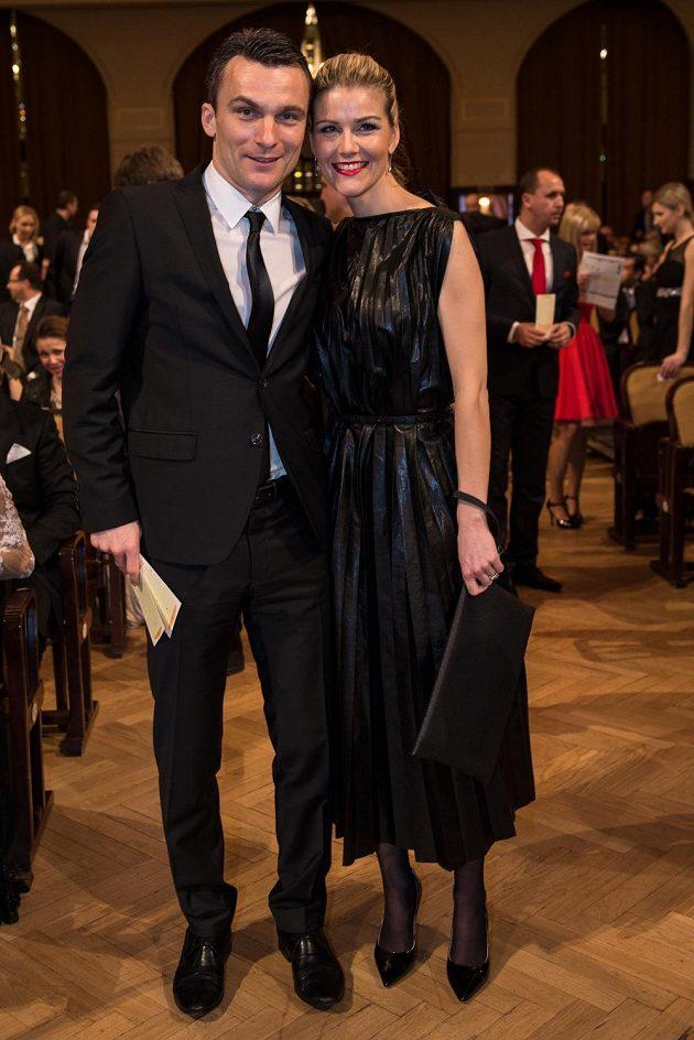 David Lafata s manželkou Kamilou během vyhlášení ankety Fotbalista roku 2015.