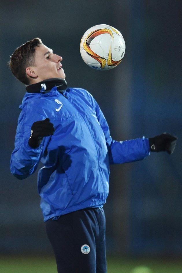 David Pavelka z Liberce na tréninku před zápasem Evropské ligy s Marseille.