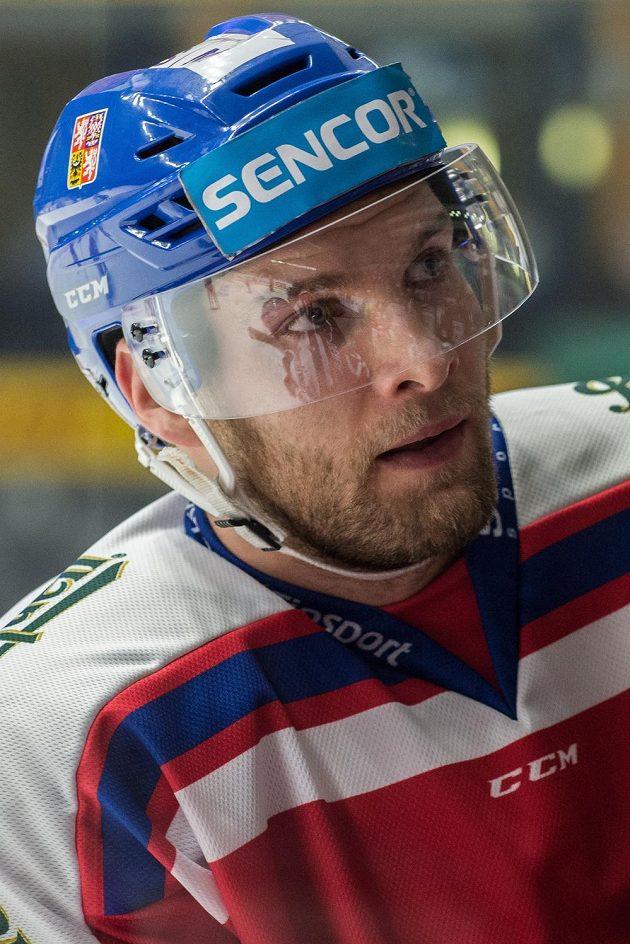Obránce české reprezentace Adam Polášek během utkání proti Švédsku ve Znojmě
