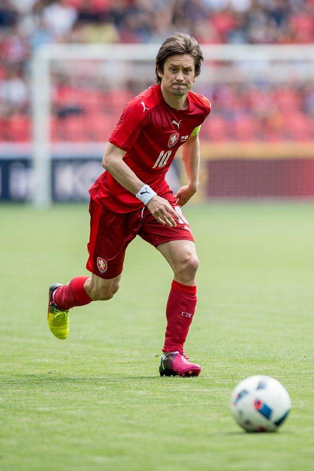 Český záložník Tomáš Rosický během přípravného utkání s Jižní Koreou.