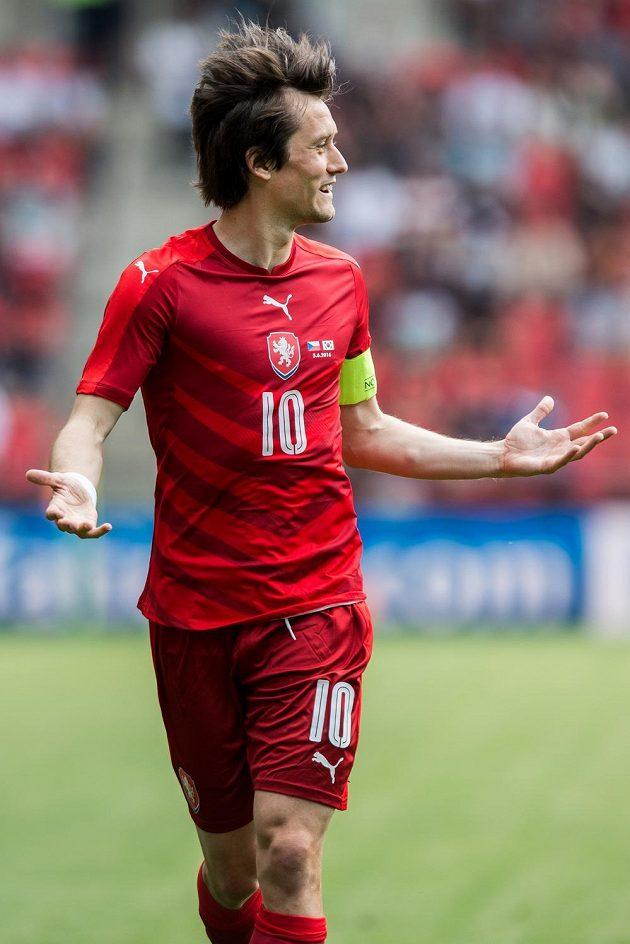 Záložník Tomáš Rosický během přípravného utkání s Jižní Koreou.