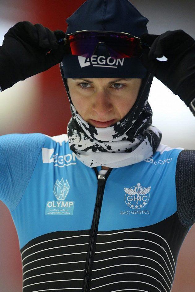 Rychlobruslařská šampiónka Martina Sáblíková na ledě v německém Inzellu.