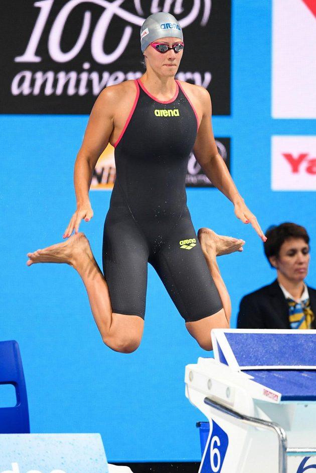Martina Moravčíková na MS v Budapešti před v semifinále na 200 metrů prsa