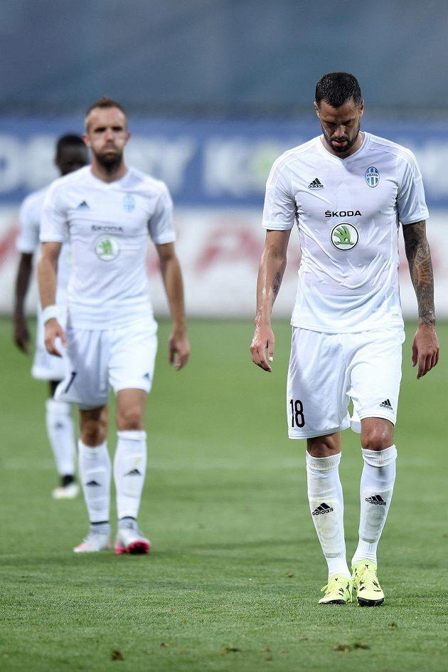 Zklamaný mladoboleslavský útočník Lukáš Magera po utkání 2. předkola Evropské ligy s norským Strömsgodsetem.