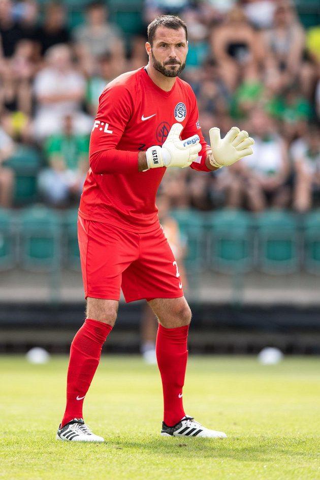Brankář Slovácka Michal Daněk během utkání 1. kola Fortuna ligy na hřišti Bohemians.