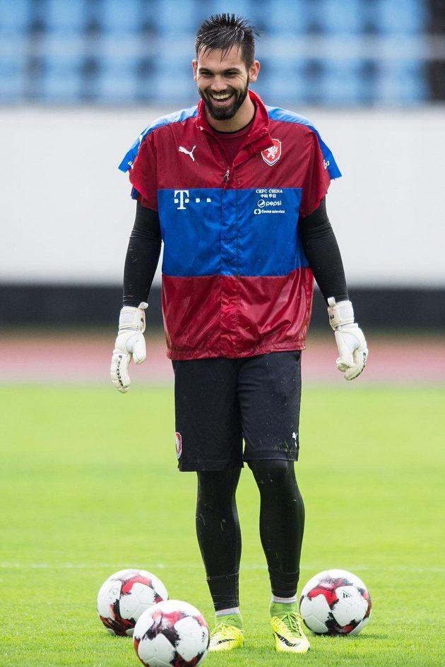 Brankář české fotbalové reprezentace Tomáš Koubek během prvního tréninku před zápasy s Arménií a Sverním Irskem.