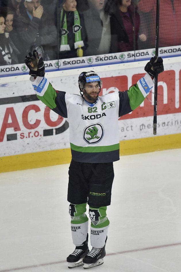 Autor prvního gólu Michal Vondrka z Mladé Boleslavi se raduje.