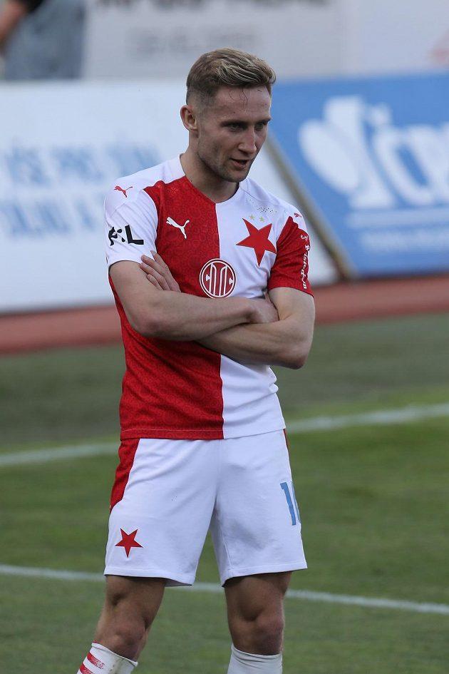 Jan Kuchta ze Slavie se raduje z branky v utkání první fotbalové ligy proti Olomouci.