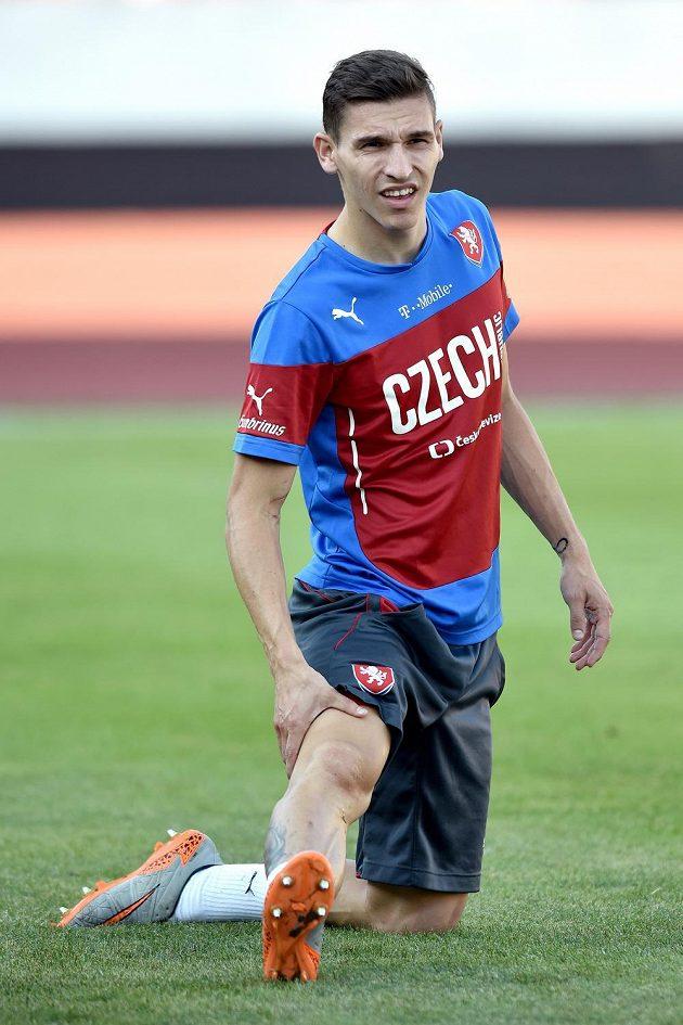 Liberecký David Pavelka na tréninku reprezentace.