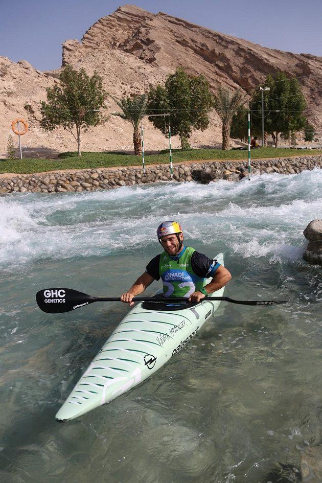 Vodní slalomář Vavřinec Hradilek s novým kajakem.
