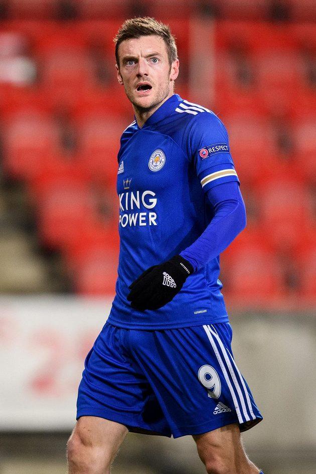 Kanonýr Leicesteru Jamie Vardy se v utkání proti Slavii gólově neprosadil.