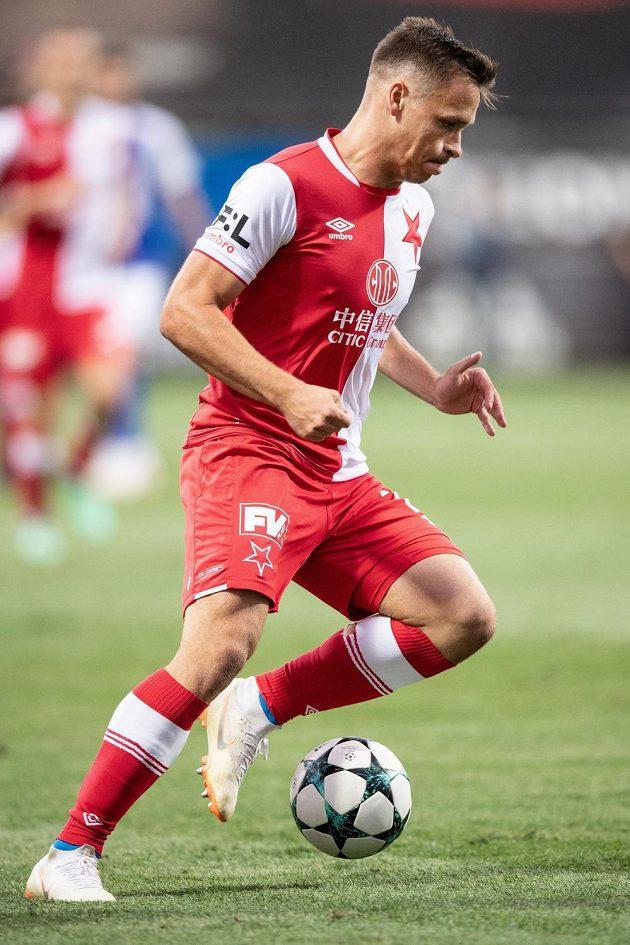 Stanislav Tecl ze Slavie během utkání v Mladé Boleslavi.