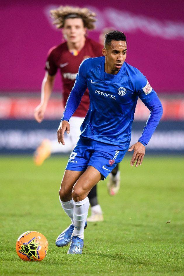 Jhon Mosquera ze Slovanu Liberec během utkání na Spartě.