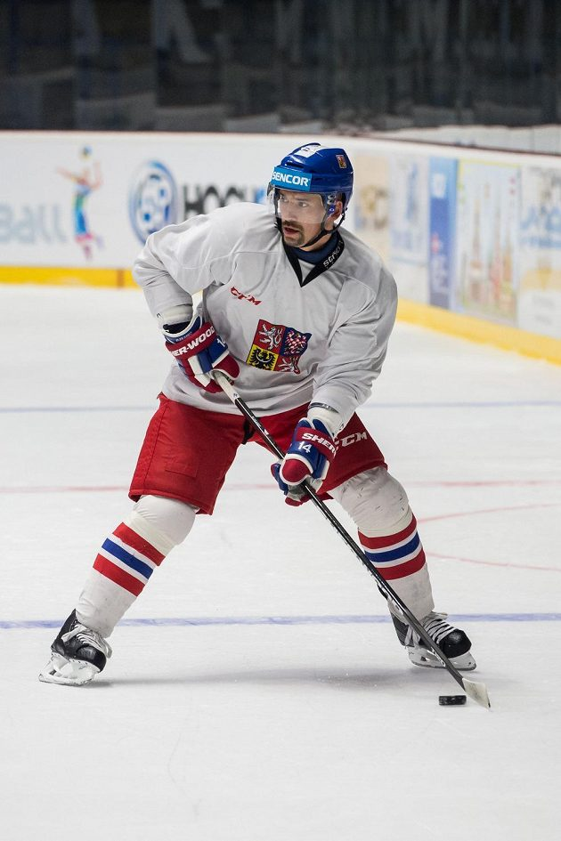 Tomáš Plekanec během tréninku hokejové reprezentace ve Znojmě.