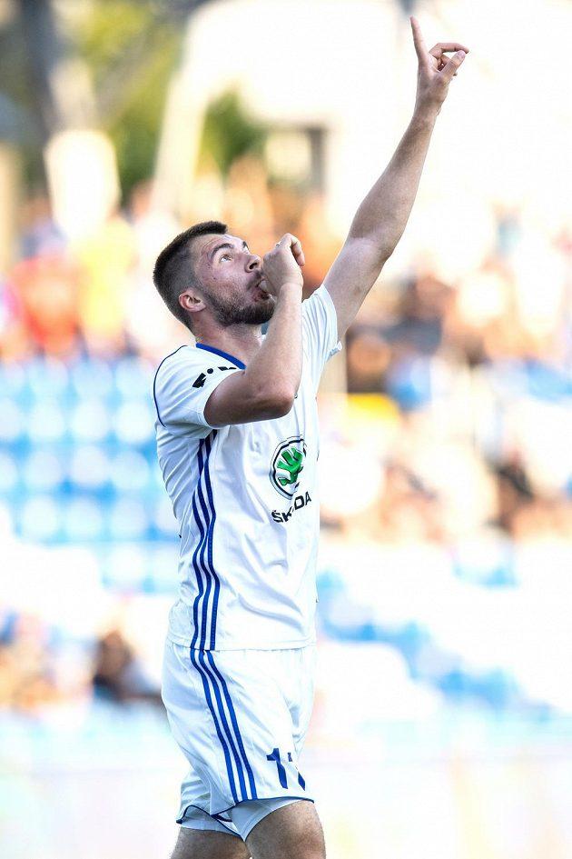 Nejlepší střelec Mladé Boleslavi Nikolaj Komličenko oslavuje gól na 1:1 během utkání 2. předkola Evropské ligy proti Ordabasy Šymkent.