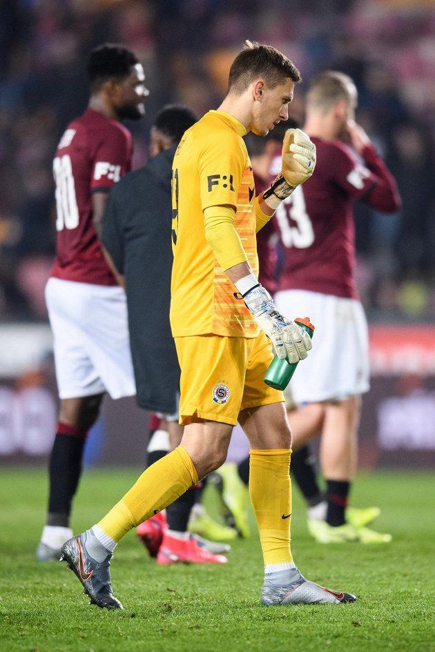 Brankář Sparty Praha Milan Heča po utkání 21. kola Fortuna ligy s Libercem.