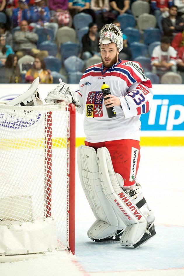 Pavel Francouz během utkání proti Norsku v Chomutově.