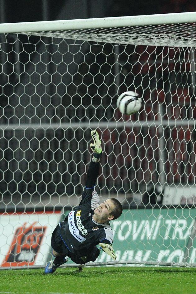 Brankář Zbrojovky Brno Václav Hladký inkasuje gól z pokutového kopu, který proměnil Pavel Horváth.
