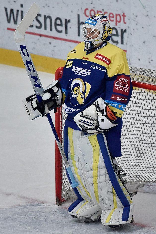 Brankář Zlína Libor Kašík po prvním inkasovaném gólu v utkání předkola play off.