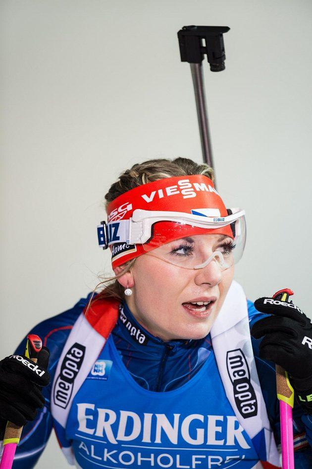 Lucie Charvátová při sprintu v Novém Městě na Moravě.