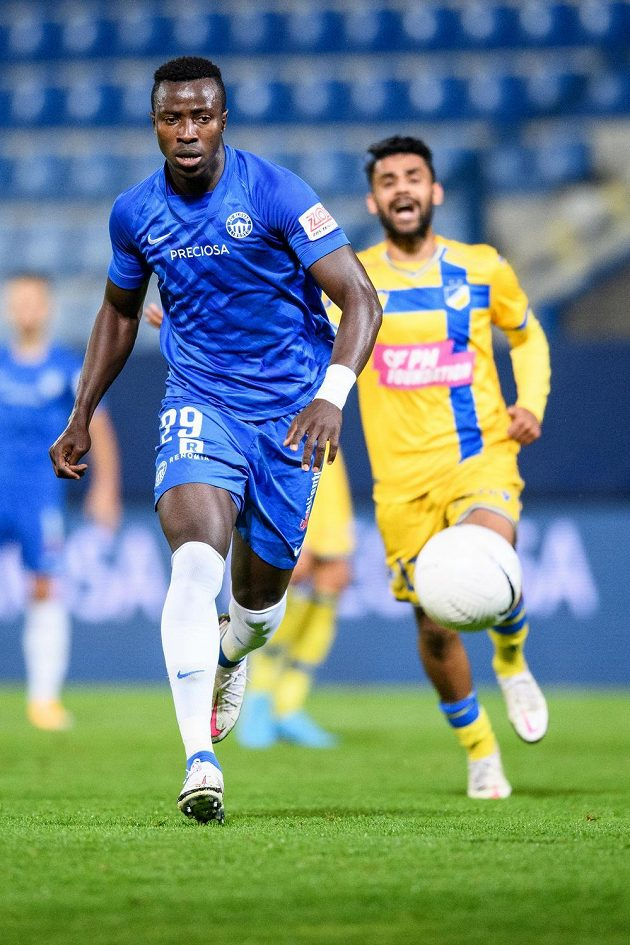 Mohamed Tijani ze Slovanu Liberec během utkání 4. předkola Evropské ligy.