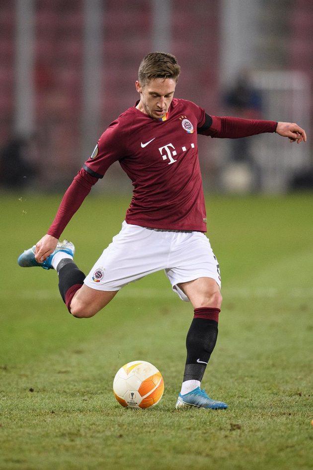 Tomáš Wiesner ze Sparty Praha během utkání s AC Milán.