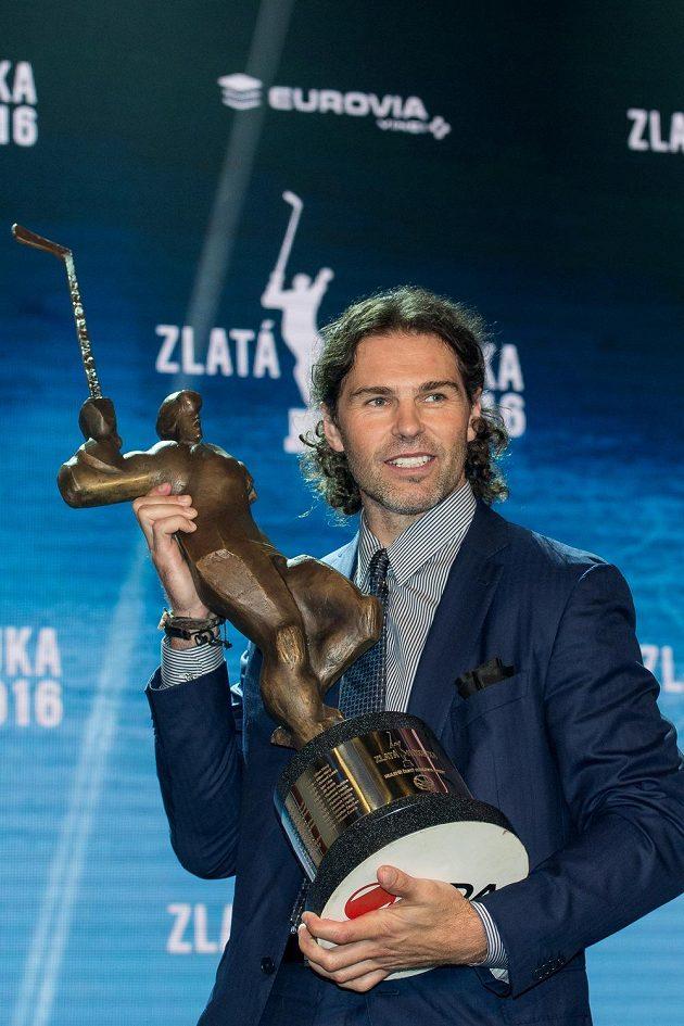 Vítěz ankety Zlatá hokejka Jaromír Jágr v karlovarském hotelu Pupp.