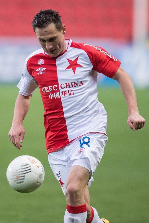 Slávistický obránce Jan Bořil během zápasu 24. kola Synot ligy s Jabloncem.