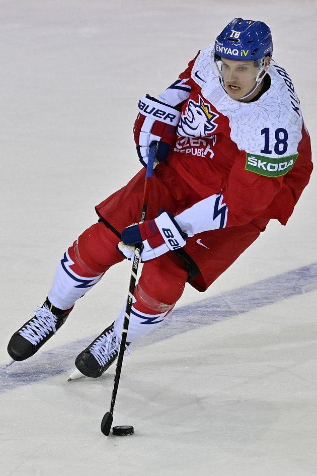 Dominik Kubalík při utkání s Běloruskem.