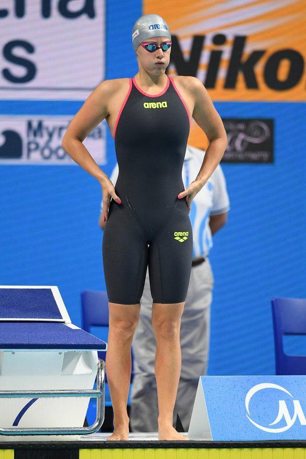 Česká plavkyně Martina Moravčíková před startem čtvrtfinále MS na 200 metrů prsa.