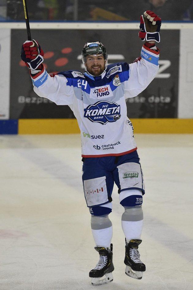 Michal Gulaši z Brna se raduje z gólu proti Olomouci.