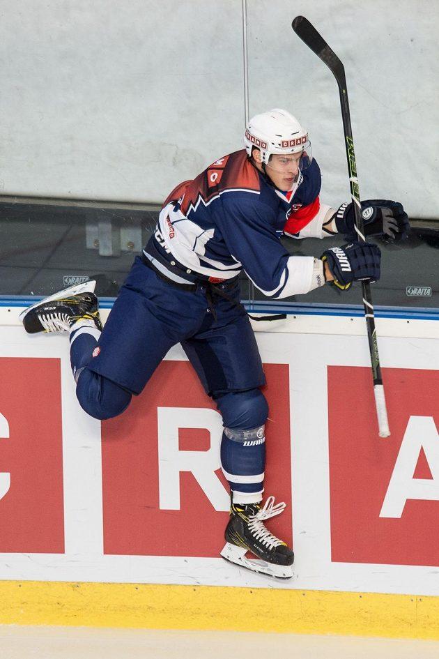 Plzeňský útočník Domink Kubalík se raduje z gólu proti Stavangeru.