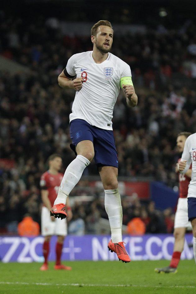 Radující se Harry Kane poté, co proti Česku proměnil penaltu.